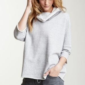 JAMES PERSE gray boxy funnel neck active knit top